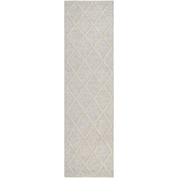 Safavieh Natura Handmade Diamond Trellis Silver / Ivory Wool Runner (2' 3 x 8')