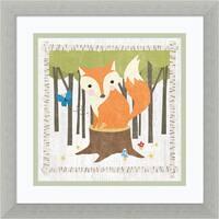 Framed Art Print 'Woodland Hideaway Fox' by Moira Hershey 14 x 14-inch