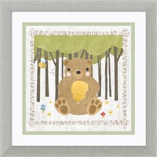 Framed Art Print 'Woodland Hideaway Bear' by Moira Hershey 14 x 14-inch