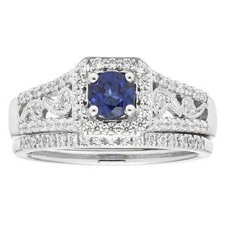 Boston Bay Diamonds 14K White Gold .73 Ct. Diamond Bridal Set with Sapphire Center
