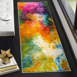 Safavieh Watercolor Contemporary Orange / Green Runner (2' 2 x 8')