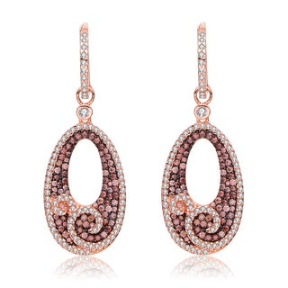 Collette Z Rose Gold Overlay Cubic Zirconia Open Oval Earrings - Silver