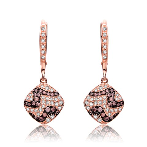 Collette Z Rose Gold Overlay Cubic Zirconia Zig Zag Earrings - Silver