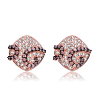 Collette Z Rose Gold Overlay Pave Cubic Zirconia Diamond-Shape Earrings - Pink