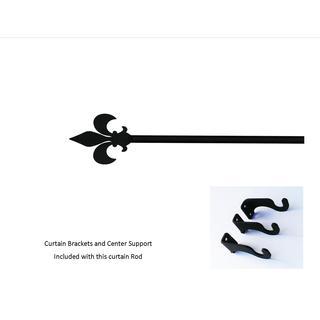 Extra Large Wrought Iron Fleur de lis Curtain Rod