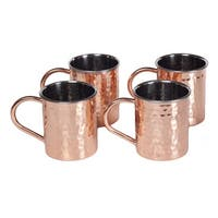 Handmade Set of 4 Tall Copper Moscow Mule Mugs (India)