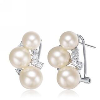 Collette Z Sterling Silver Cubic Zirconia Pearl Cluster Earrings