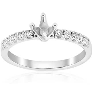 14k White Gold 1/4 ct TDW Diamond Semi Mount Engagement Ring Setting