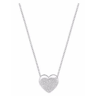 Women's Silver tone Crystal Heart Pendant Necklace