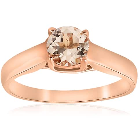 14k Rose Gold 3/4 ct TGN Round Morganite Solitaire Engagement Ring