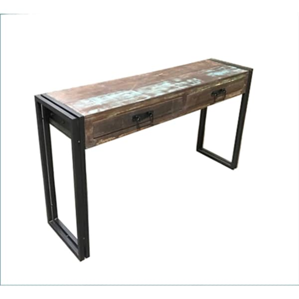 Shop Timbergirl Old Reclaimed Wood Console Table with Metal Legs ...