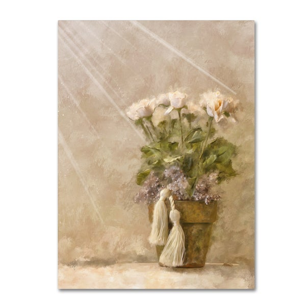 Lois Bryan 'White Roses in the Light' Canvas Art - Green