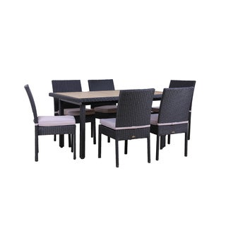BroyerK Outdoor Dining Set plastic wood top Table 6 Chairs Patio Furniture