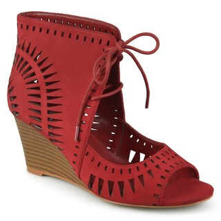 Journee Collection Women's 'Zola' Lace-up Laser Cut Wedges|https://ak1.ostkcdn.com/images/products/14462504/P21023941.jpg?_ostk_perf_=percv&impolicy=medium