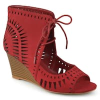 Journee Collection Women's 'Zola' Lace-up Laser Cut Wedges