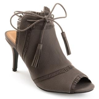 Journee Collection Women's 'Haven' Tassle Open Toe Fringe High Heels