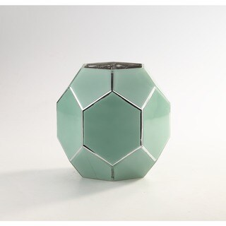 Green Glass Geometric Vase
