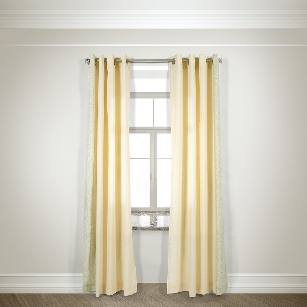 L and R Home Harlequin Ivory Grommet Top 84-inch Curtain ...