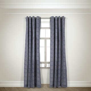 L and R Home Harlequin Navy Cotton-blend 84-inch Grommet-top Curtain Panel Pair