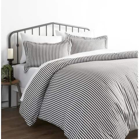 Merit Linens Premium Ultra Soft Grey Ribbon 3-piece Duvet Cover Set