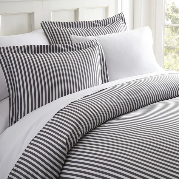 Merit Linens Premium Ultra Soft Grey Ribbon 3 Piece Duvet Cover Set