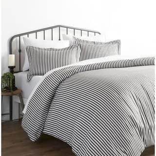 Merit Linens Premium Ultra Soft Grey Ribbon 3 Piece Duvet Cover Set