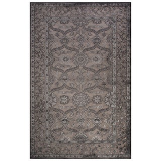 Classic Oriental Pattern Gray Rayon Chenille Area Rug (7'6 x 9'6) (As Is Item)