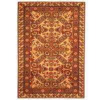Handmade Herat Oriental Afghan Vegetable Dye Tribal Shirvan Wool Rug (Afghanistan) - 4' x 5'7