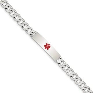 Versil Sterling Silver Medical Curb Link ID Bracelet