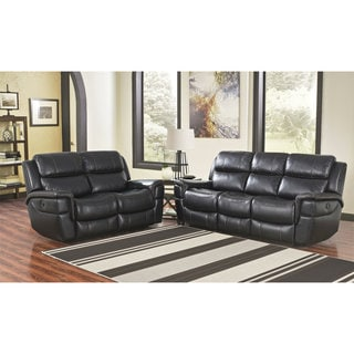 Abbyson Langdon Black Power Reclining Sofa and Loveseat Living Room Set