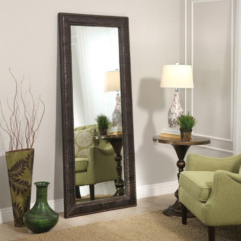 Delano Transitional Leather 70-inch Floor Mirror - Brown by Abbyson