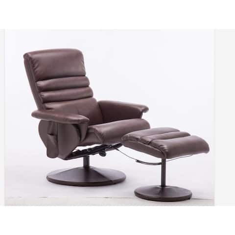 Mcombo Swivel Gaming Massage Chair Recliner and Ottoman Wrapped Base