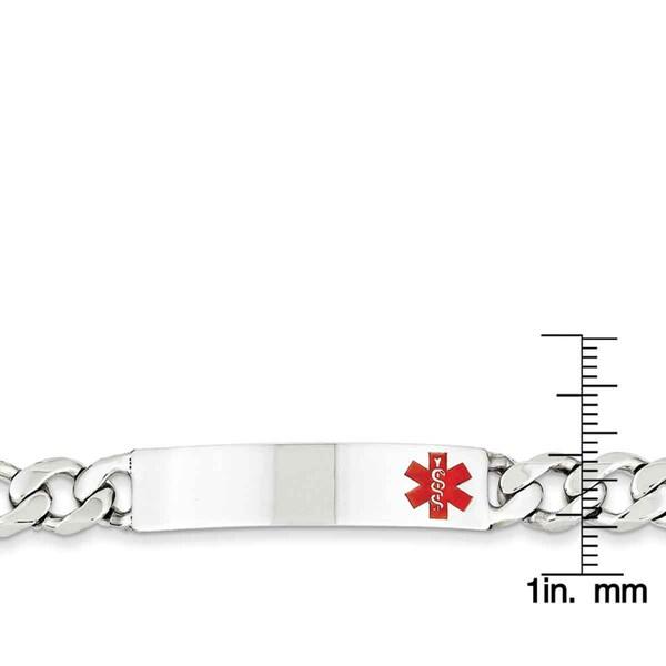 925 Sterling Silver Polished 8mm Anchor Link Engraveable ID Lobster Bracelet 7