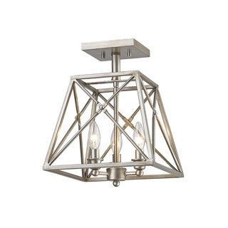 Z-Lite Tressle Antique Silver 3 Light Semi-Flush