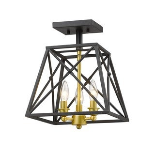 Z-Lite Tressle Bronze Gold 3 Light Semi-Flush