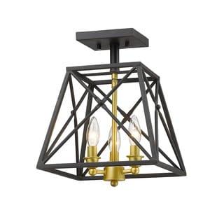 Z-Lite Tressle Bronze Gold 3 Light Semi-Flush