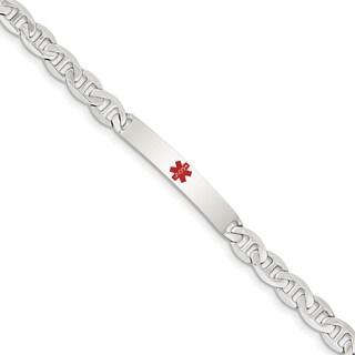 Versil Sterling Silver Polished Medical Anchor Link ID Bracelet