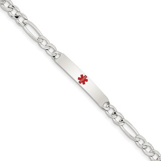 Versil Sterling Silver Polished Medical 7.5-inch Figaro Anchor Link ID Bracelet