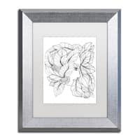 KCDoodleArt 'Flower Girls 23' Matted Framed Art - White