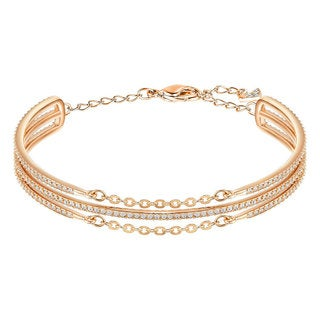 Women's Rose Gold-plated Crystal Bangle