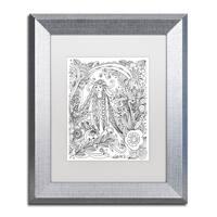 KCDoodleArt 'Flower Girls 20' Matted Framed Art - White