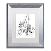 KCDoodleArt 'Flower Girls 17' Matted Framed Art - White