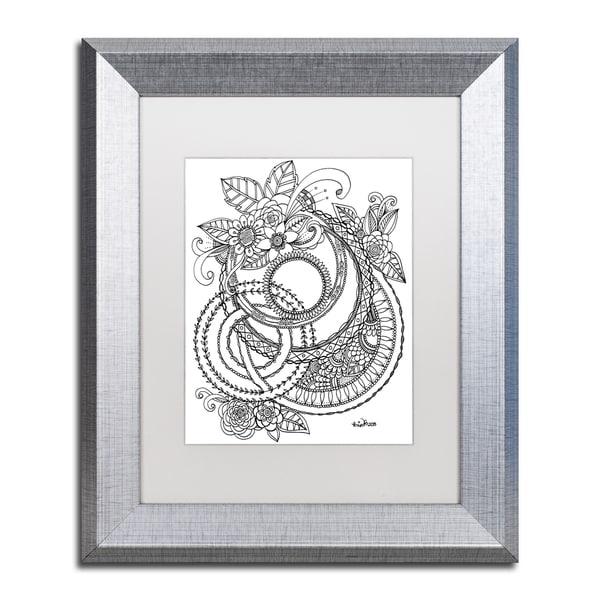 KCDoodleArt 'Flower Girls 11' Matted Framed Art - White