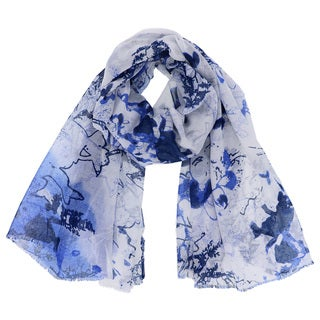 Women's Abstract Color Ink Stained Lightweight Scarf