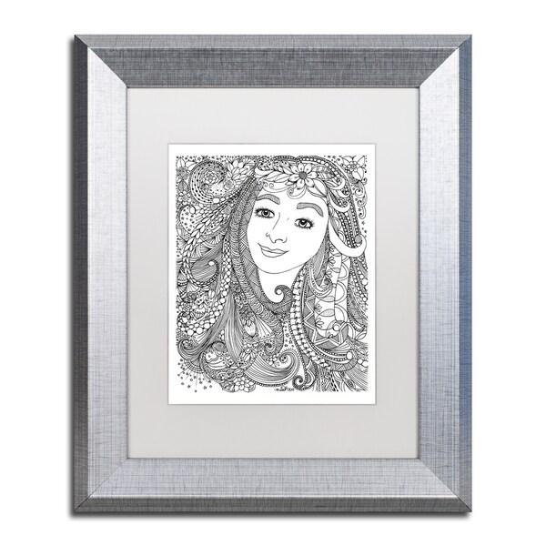 KCDoodleArt \'Flower Girls 4\' Matted Framed Art - White - Free ...