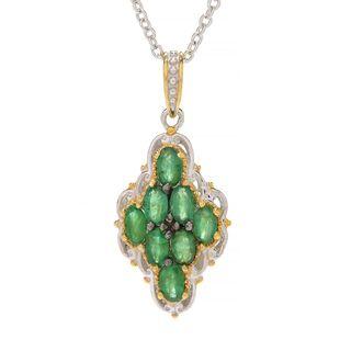 Michael Valitutti Palladium Silver Emerald Eight-Stone Diamond Shaped Pendant w/ Chain