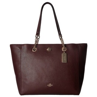 Coach Turnlock Small  Oxblood Leather Chain Tote Bag