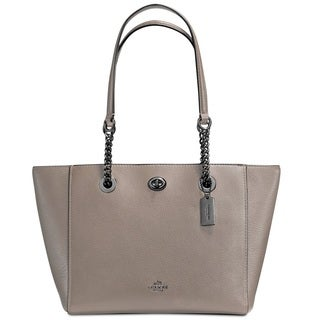 Coach Turnlock Small Fog Leather Chain Tote Bag