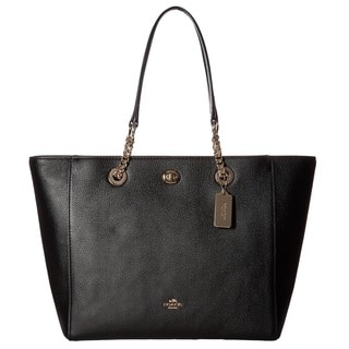 Coach Turnlock Small Black Leather Chain Tote Bag