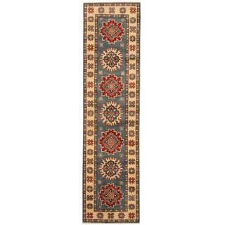 Herat Oriental Afghan Hand-knotted Vegetable Dye Tribal Kazak Wool Runner (2' x 7'7)
